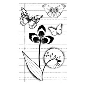 (1-CS0000F) Cling Stamp- Butterfly Study